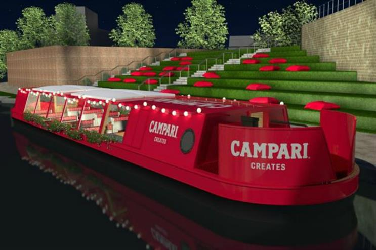 Campari's narrowboat: one of the latest activations in the capital