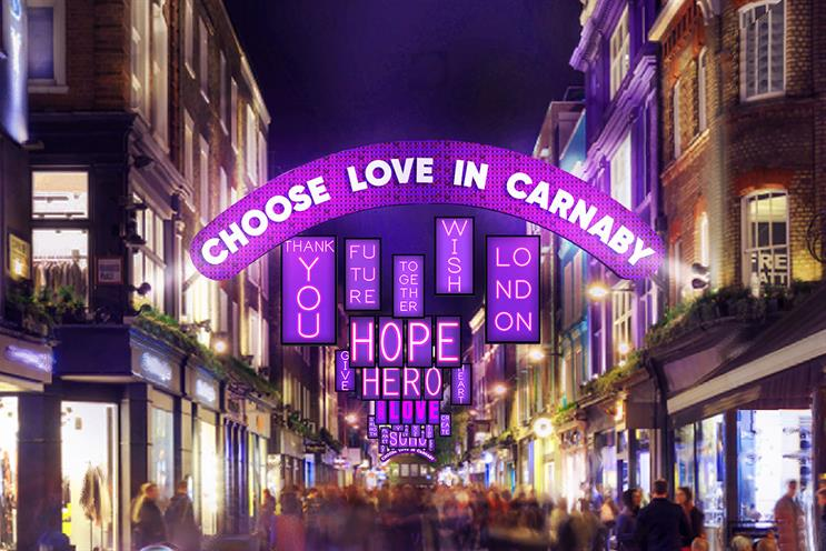 Choose Love: lightboxes will be filled with positive messages