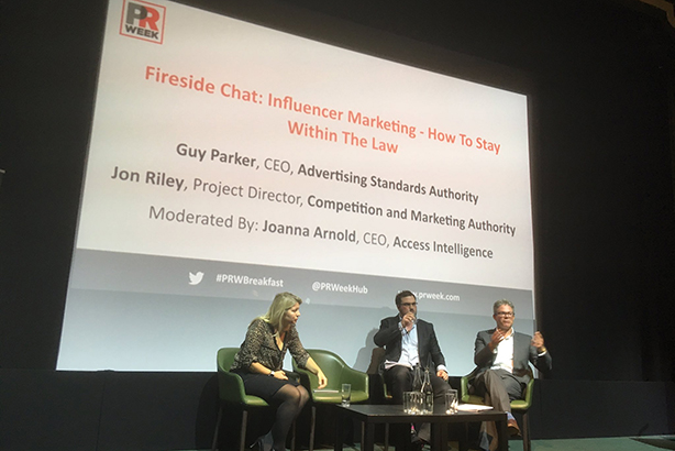The CMA's Jon Riley discussed regulations on influencer marketing at a PRWeek event last year