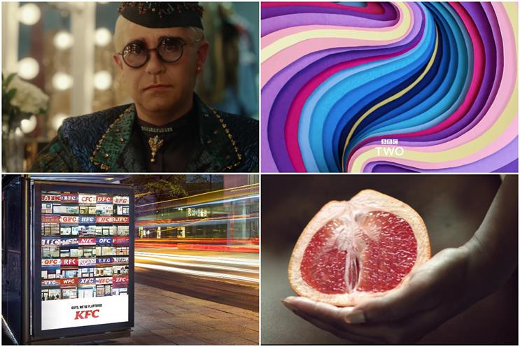 Clockwise from top left: John Lewis & Partners, BBC Two, Libresse and KFC