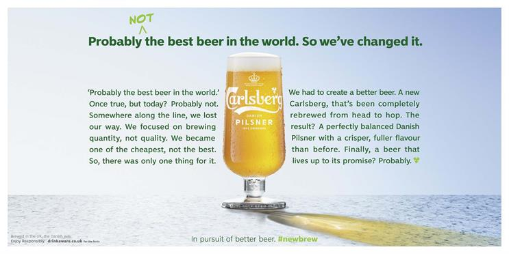 Carlsberg campaign admits: we probably weren't the best, after all