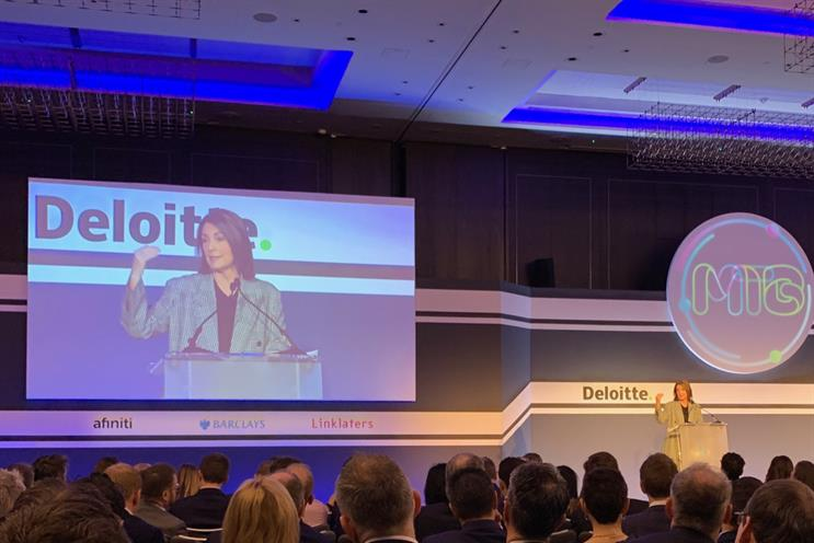 ITV boss Carolyn McCall speaking at the Deloitte/Enders Analysis conference in London