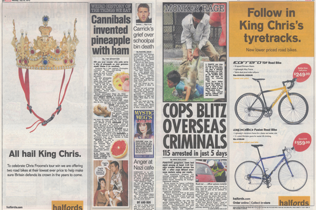 Halfords: celebrates Chris Froome's Tour win