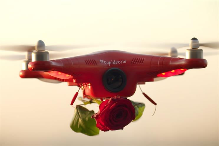 The #cupidrone dropped roses on couples for Valentine's Day