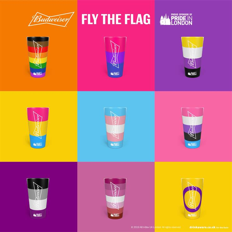 Budweiser cups representing (left to right, top to bottom): inclusive, bi, non-binary, gender-fluid, transgender, pansexual, asexual, lesbian and intersex pride