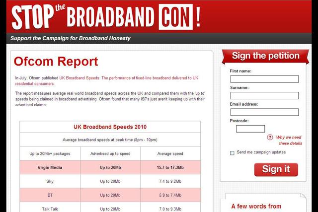 Virgin's 'Broadband Con' website falls foul of ASA