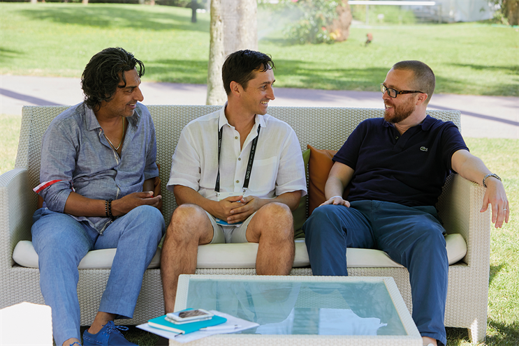 (l-r) Dick van Motman, Michael Chadwick and Gurdeep Puri launch Dentsu's Dynamo Brand Index at the Cannes Lions International Festival of Creativity