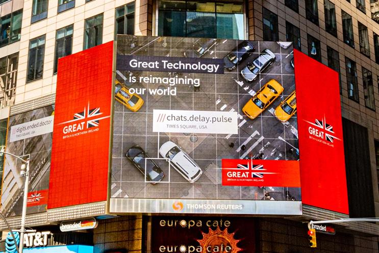 'GREAT Britain': updated campaign was previewed in New York's Times Square