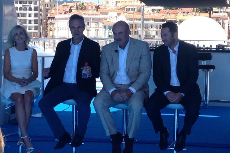 Launching DailyMailTV: (from left) Pennington, Clarke, Dr Phil McGraw, Jay McGraw