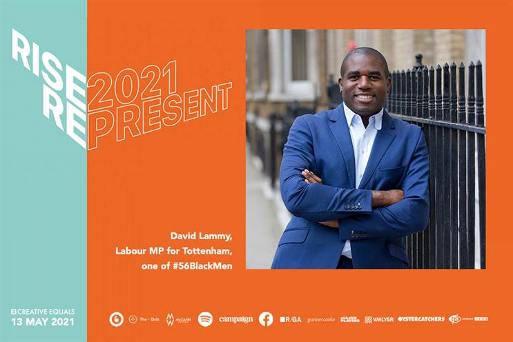 Lammy: will speak at Creative Equals' RISE conference