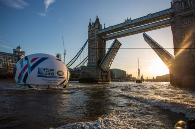Land Rover floated a giant rugby ball down the Thames yesterday afternoon (21 May)