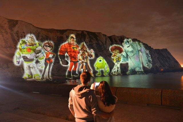 Disney projects giant Buzz Lightyear and Jack Sparrow onto White Cliffs of Dover