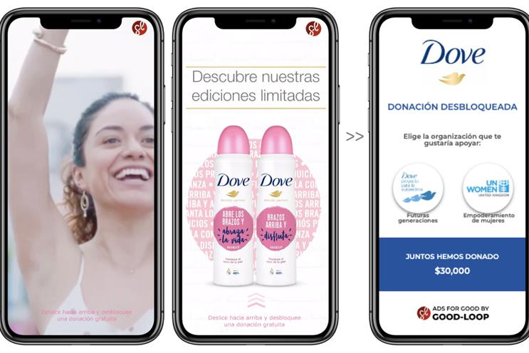 Dove: Mexican Instagram users can donate to charity when they watch the ad