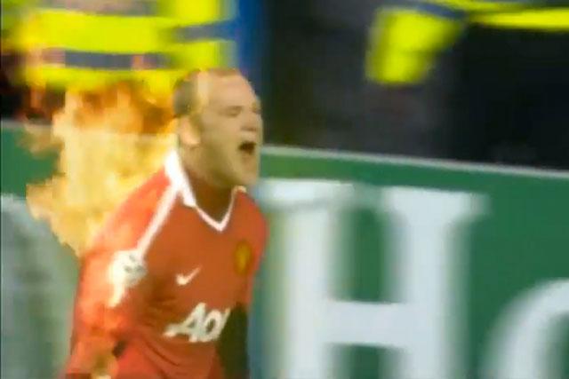 Wayne Rooney on fire
