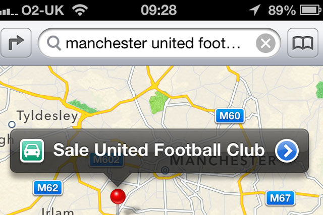Apple Maps: swaps Man U for Sale United Football Club