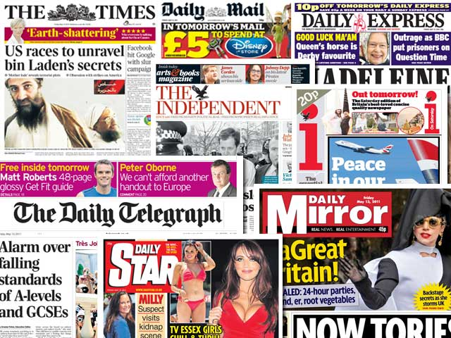 National newspaper ABC figures for April 2011