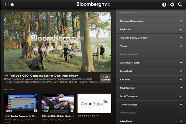 Bloomberg Television+: iPad app is sponsored by Credit Suisse