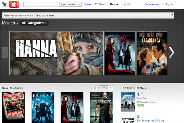 Youtube Enters Uk Online Film Rental Market