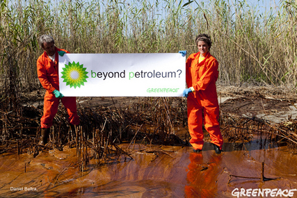 Greenpeace satirise 'Beyond Petroleum' at the site of the Gulf spill