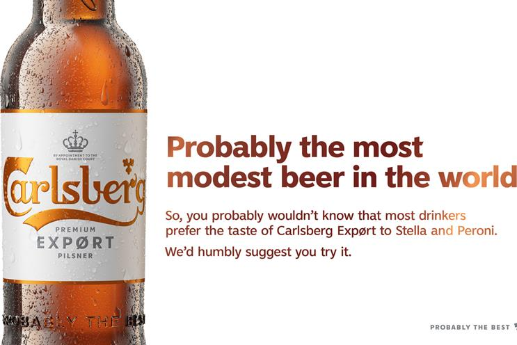 Carlsberg: ad 'humbly' compares brand with Stella Artois and Peroni