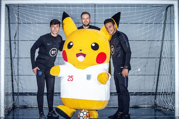 Pokémon: Pikachu with England footballers Michael Keane, Callum Wilson and Joe Gomez