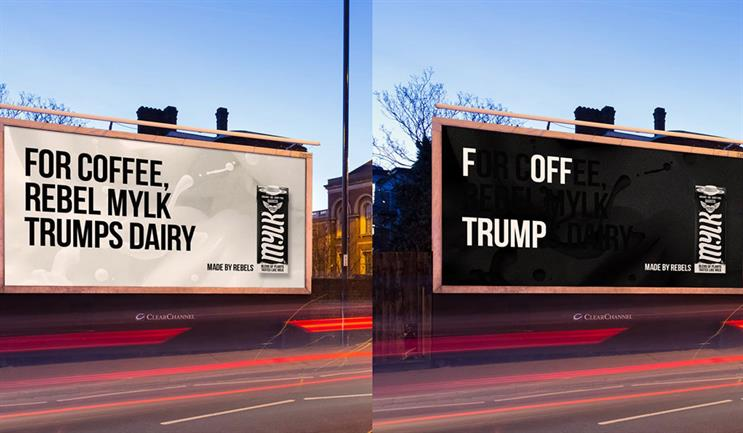 Rebel Kitchen: visual changes to reveal a message inviting Trump to hurry up and go already