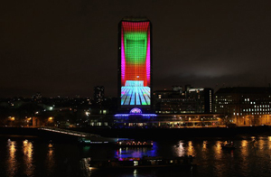 Milbank Tower is brought to life last night