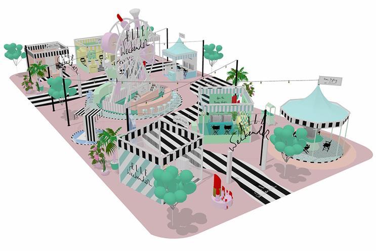 Elle: fairground-style activation in Westfield