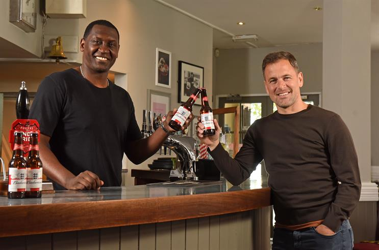 Budweiser: Emile Heskey (left) and Joe Cole rally fans to support their locals