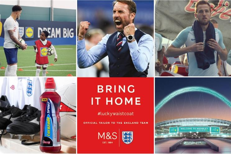 Sponsors during Russia 2018: Lidl, Lucozade, M&S, Mars and EE