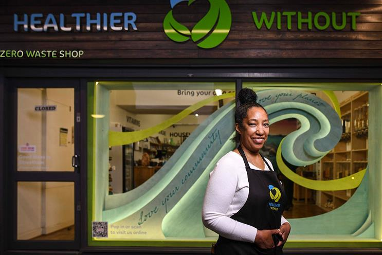 Marjorie Watts: owner of zero-waste shop, Healthier Without, is a recipient of one of the window displays