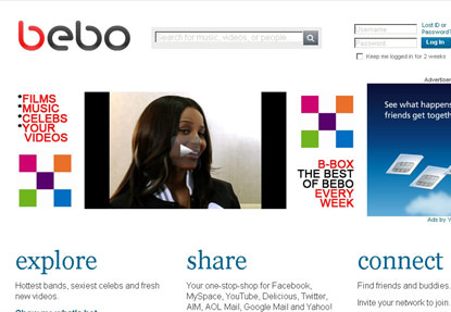 Bebo...click through rates lower on social media websites