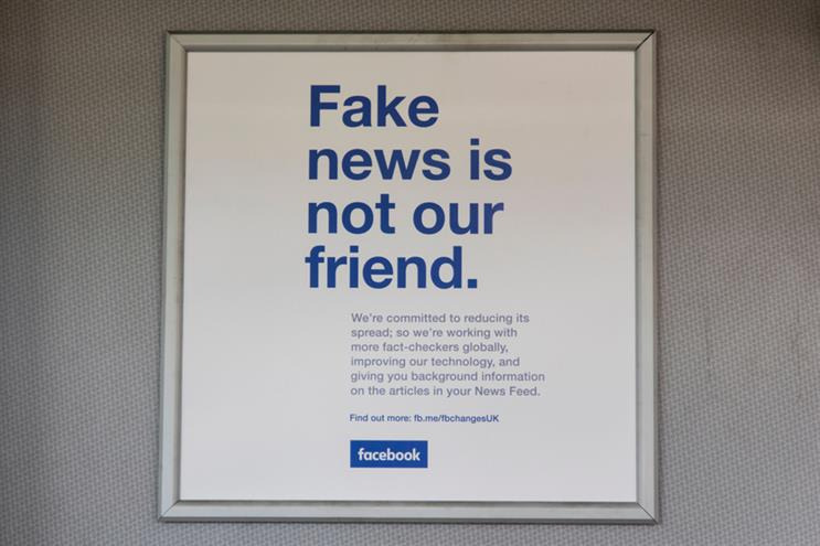 Facebook's anti-fake news ad campaign in London in 2018