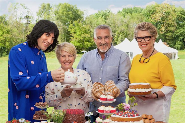 The Great British Bake Off (L-R): Noel Fielding; Sandi Toksvig; Paul Hollywood and Prue Leith