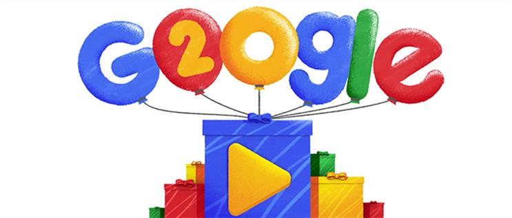 Google doodle turns 20 birthday greetings from adland m4hsunfo