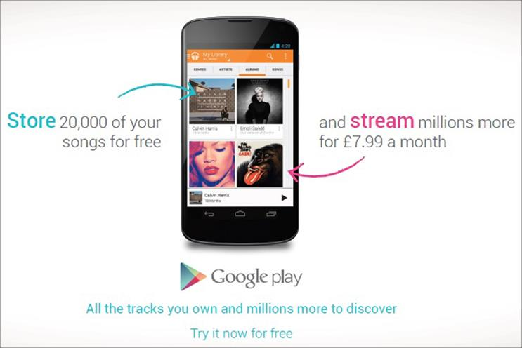 Google: launches drive to promote its  Play Music All Access streaming service
