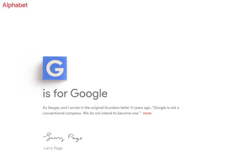 Google's new corporate name is Alphabet