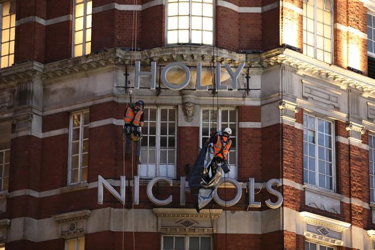 Harvey Nichols is temporarily Holly Nichols (Photo credit: E Signs Signmakers)