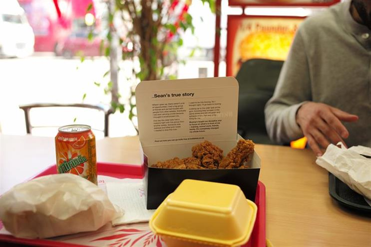 Is putting #knifefree ads in chicken shops 'crude' and 'offensive'?