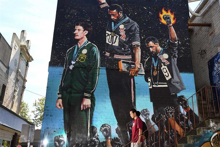 Protests: mural depicting Tommie Smith and John Carlos at Mexico Olympic Games (Getty Images)