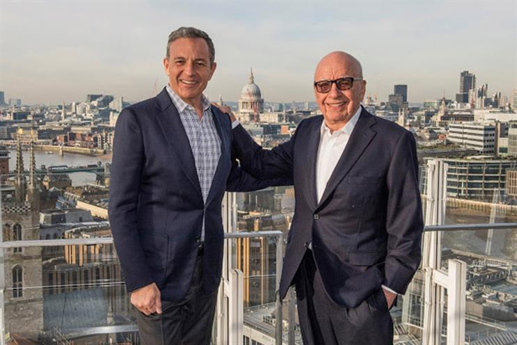 Done deal: Disney's Bob Iger and Fox's Rupert Murdoch