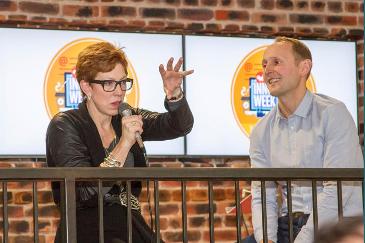 Naughton (l) and Clays: Google's UK managing director joined the OMD boss for a Q&A session