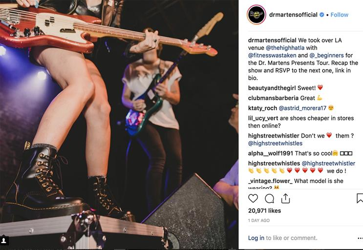 Dr Martens leads ranking of fashion retailers on Instagram