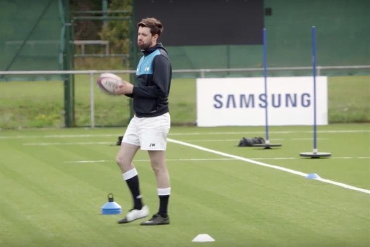 Jack Whitehall: takes to the rugby pitch