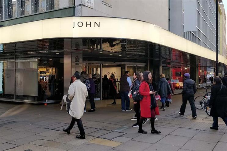 John Lewis: teased Christmas campaign on Oxford Street shop front