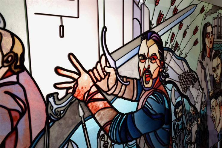 Game of Thrones: Jon Snow depicted in stained glass