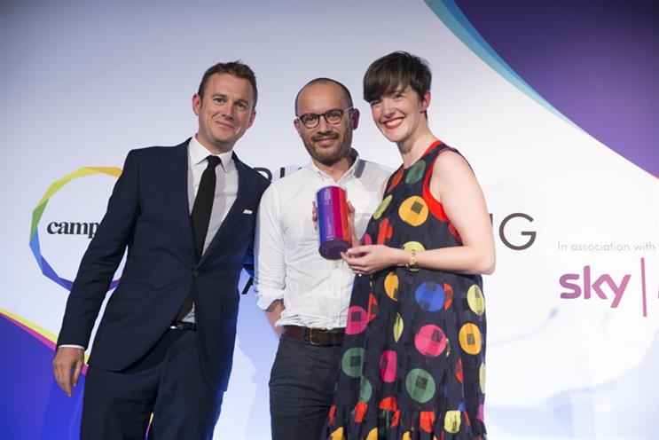 Mother and KFC collect their prize from Sky Media director of client strategy Andrew Mortimer