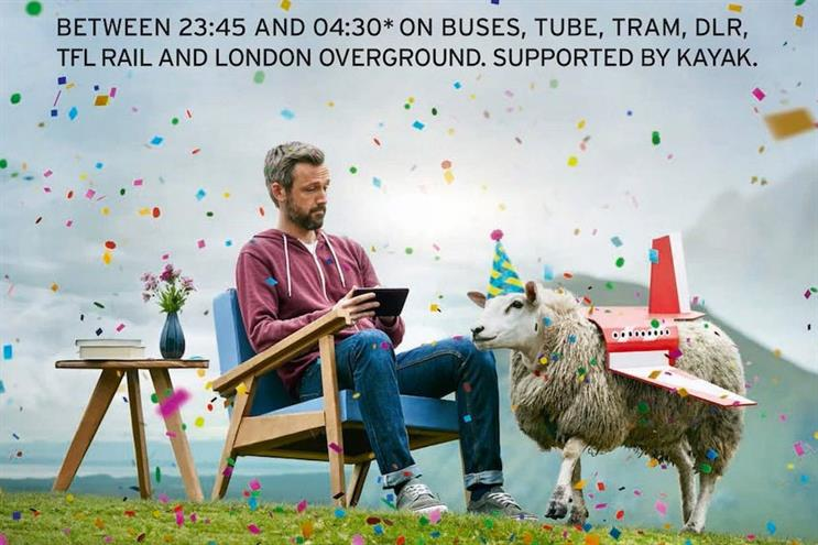Kayak: sponsors TfL on New Year's Eve