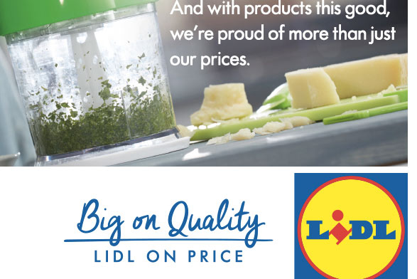 The new strapline appears on Lidl's website
