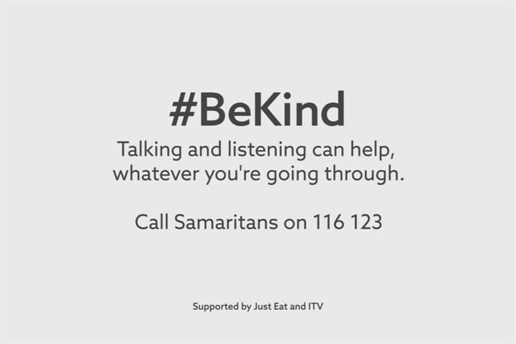 ITV: aired unbranded ident urging people to #BeKind